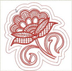 Jacobean Flower Quilt Block embroidery design