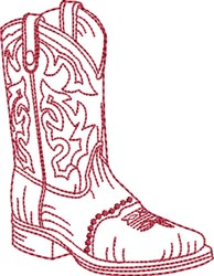 Redwork Cowboy Boot 6 embroidery design