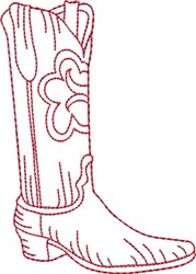 Redwork Cowboy Boot 8 embroidery design