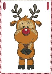 Shy Rudolph Banner Pocket embroidery design
