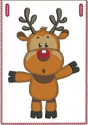 Surprised Rudolph Banner Pocket embroidery design