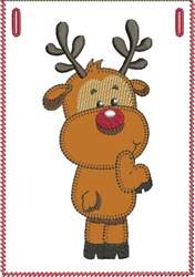 Over-the-shoulder Rudolph Banner Pocket embroidery design