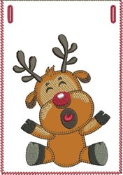 Yawning Rudolph Banner Pocket embroidery design