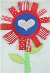 ITH Ribbon Applique Heart Flower embroidery design
