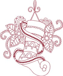 Red Ink Stocking embroidery design