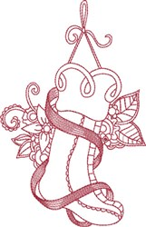 Ribbon Scroll Redwork Stocking embroidery design