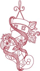 Ribbon Embellished Stocking embroidery design