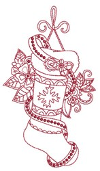 Beaded Redwork Stocking embroidery design
