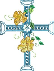 Center Star Floral Cross embroidery design