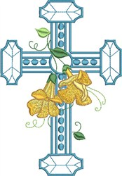 Large Floral Cross embroidery design