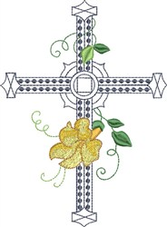 Large Single Floral Cross embroidery design