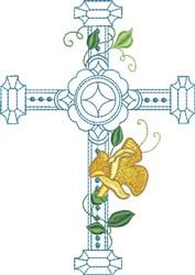 Large Light Blue Floral Cross embroidery design