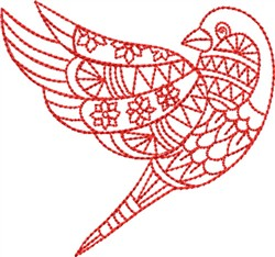 Redwork Flying Bird embroidery design