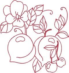 Redwork Peaches embroidery design