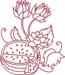 Redwork Watermelon embroidery design
