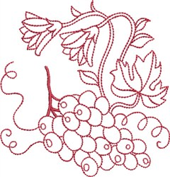 Redwork Grapes embroidery design