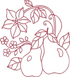 Redwork Pears embroidery design