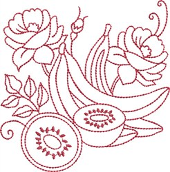 Redwork Bananas embroidery design