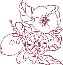 Redwork Lemons embroidery design