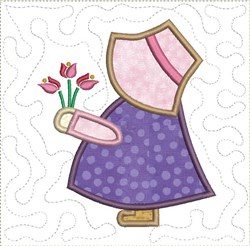 Sun Bonnet Sue with Flowers Quilt Block embroidery design