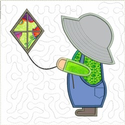 Sun Bonnet Sam with Kite embroidery design