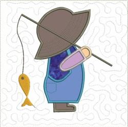 Sun Bonnet Sam Fishing embroidery design