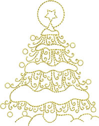 Golden Christmas Tree embroidery design