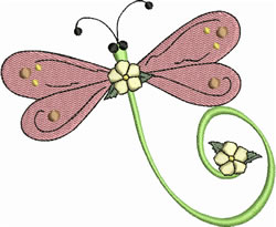 Spring Floral Dragonfly embroidery design