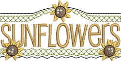 Sunflowers Sign embroidery design