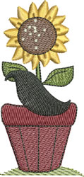 Sunflower Pot and Stylized Crow embroidery design