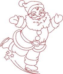 Skating Santa embroidery design