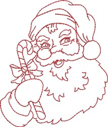 Santa with Candy Cane embroidery design