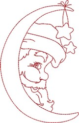 Santa InThe Moon embroidery design