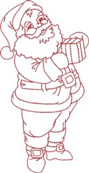 Santa with Gift embroidery design