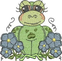 Girl Floral Frog embroidery design