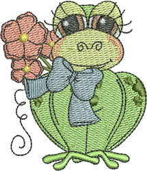 Frog with Bow embroidery design