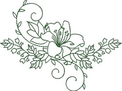 Curved Lily Spray embroidery design