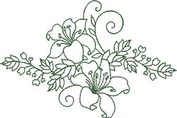 Two Lily Spray embroidery design