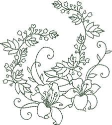 Greenwork Lilies embroidery design