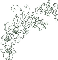 Arched Lilies embroidery design