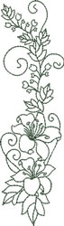 Vertical Lily Spray embroidery design