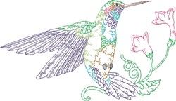 Large Hummingbird embroidery design