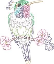 Hummingbird & Flowers embroidery design