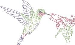 Flower & Hummingbird embroidery design