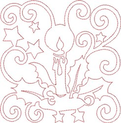Christmas Candle Quilt Block embroidery design