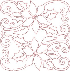 Pointsettias Quilt Block embroidery design