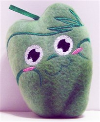 Green Pepper Stuffed Baby Rattle embroidery design