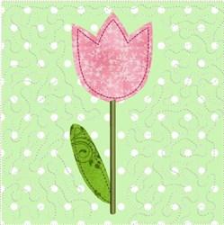 ITH Spring Tulip Quilt Block embroidery design