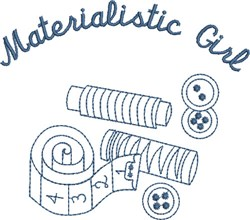 Materialistic Girl embroidery design