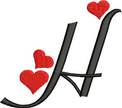 Sweetheart H embroidery design